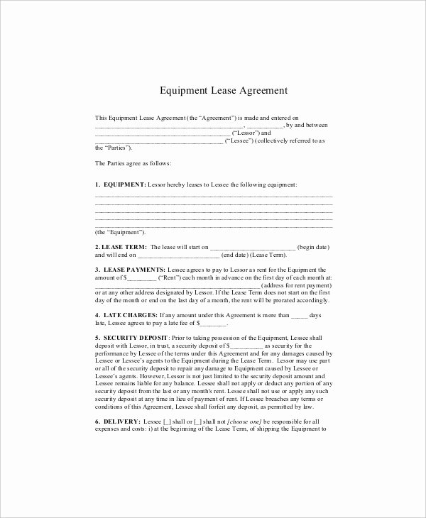 Equipment Lease Agreement Template Fresh Equipment Lease Template 10 Free Word Pdf Google