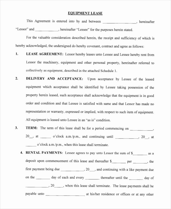 Equipment Lease Agreement Template Fresh Printable Blank Lease Agreement form 17 Free Word Pdf