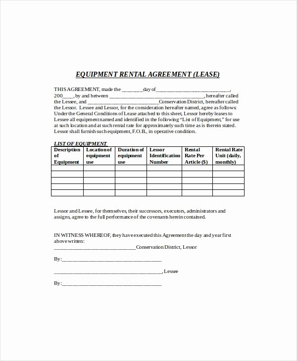Equipment Lease Agreement Template Inspirational 13 Rental Agreement Templates Free Sample Example