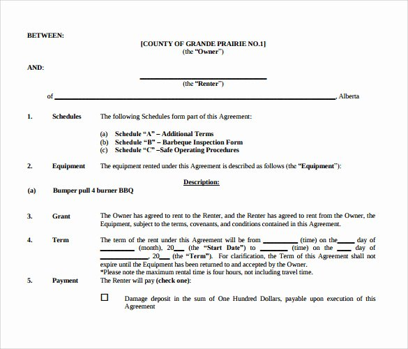 Equipment Lease Agreement Template Inspirational 14 Equipment Rental Agreement Templates