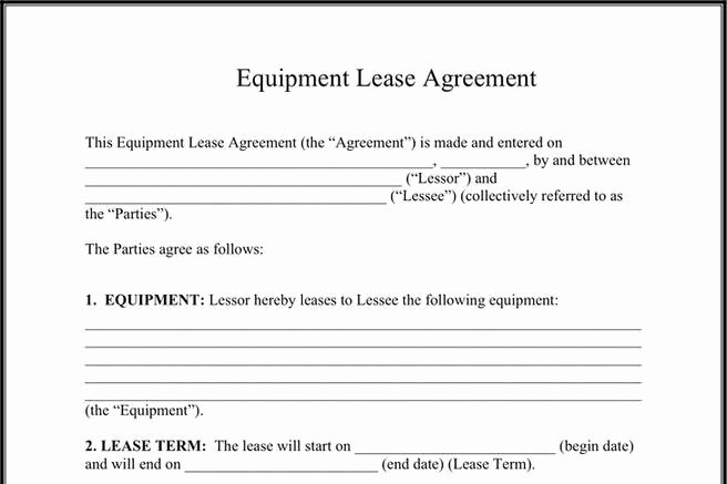 Equipment Lease Agreement Template Inspirational 577 Rent and Lease Template Free Download