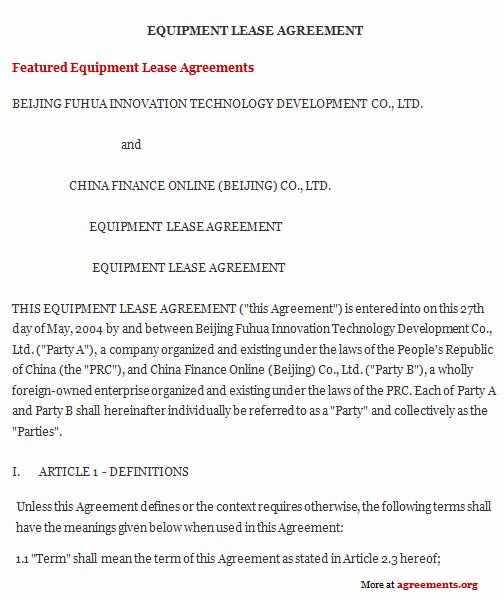 Equipment Lease Agreement Template Inspirational Equipment Lease Agreement Sample Equipment Lease