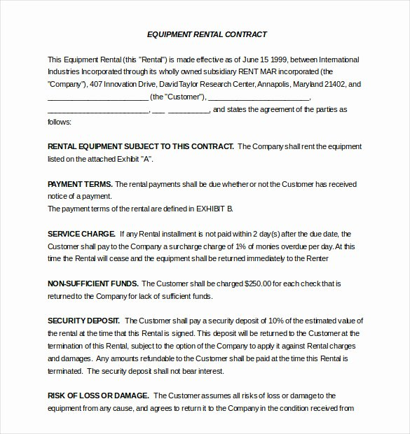 Equipment Lease Agreement Template Inspirational Rental Agreement Template – 20 Free Word Excel Pdf