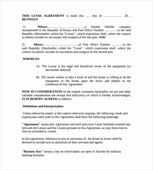 Equipment Lease Agreement Template Luxury 11 Equipment Lease forms to Download for Free