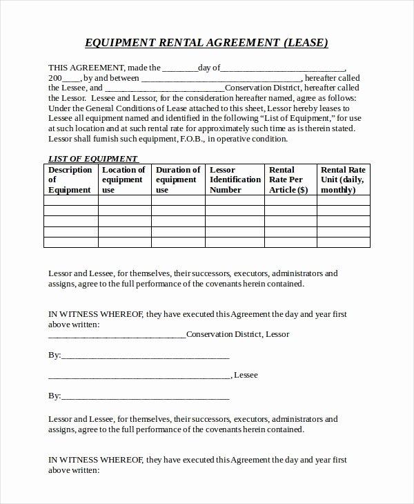 Equipment Lease Agreement Template New 20 Equipment Rental Agreement Templates Doc Pdf
