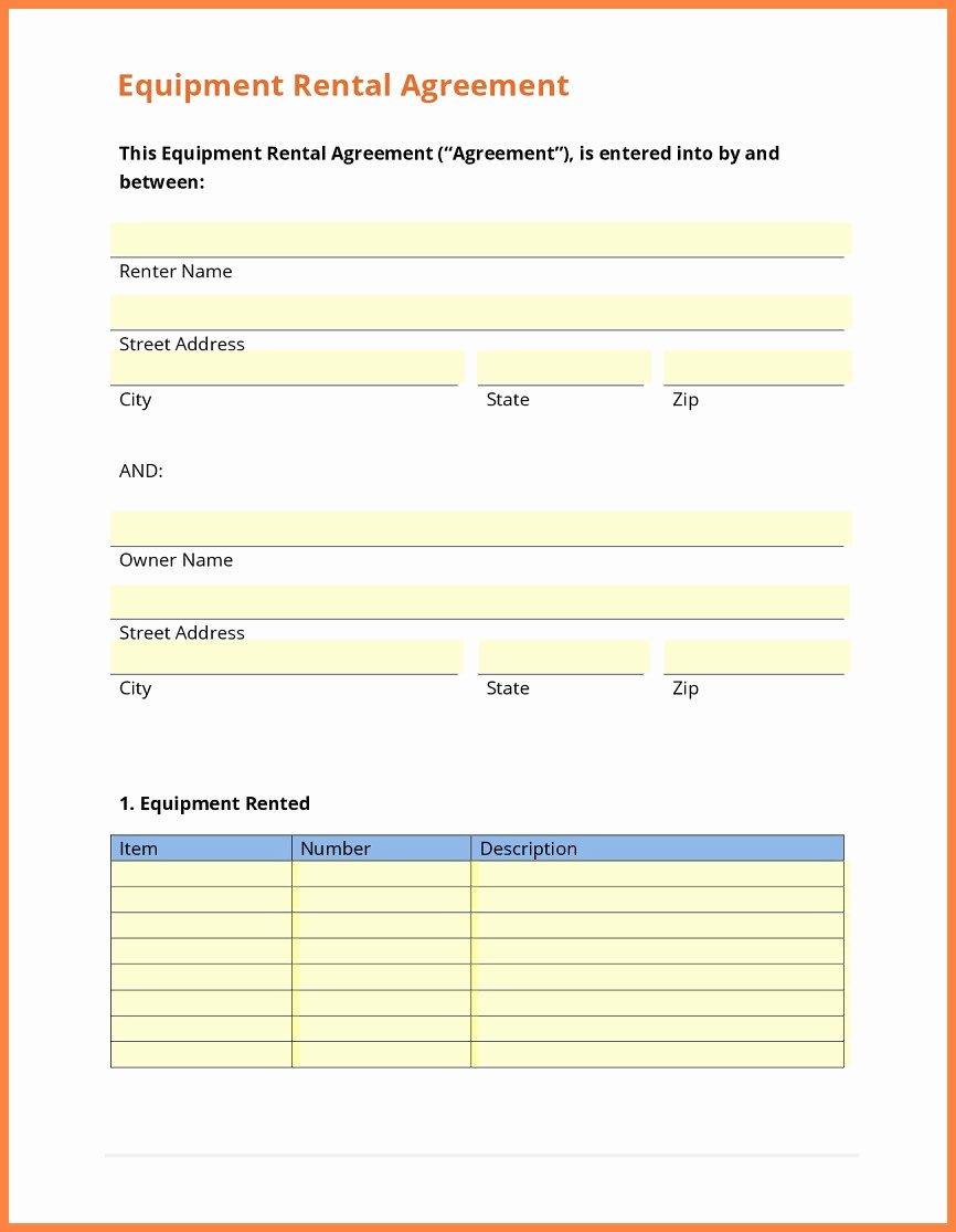 Equipment Lease Agreement Template Unique Equipment Agreement Template Regular 9 Equipment Rental
