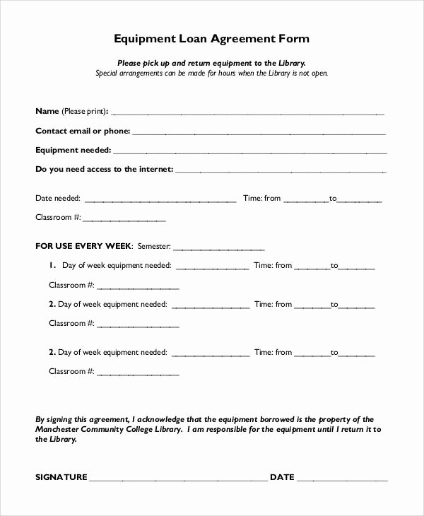 Equipment Loan Agreement Template Awesome 57 Basic Agreement forms