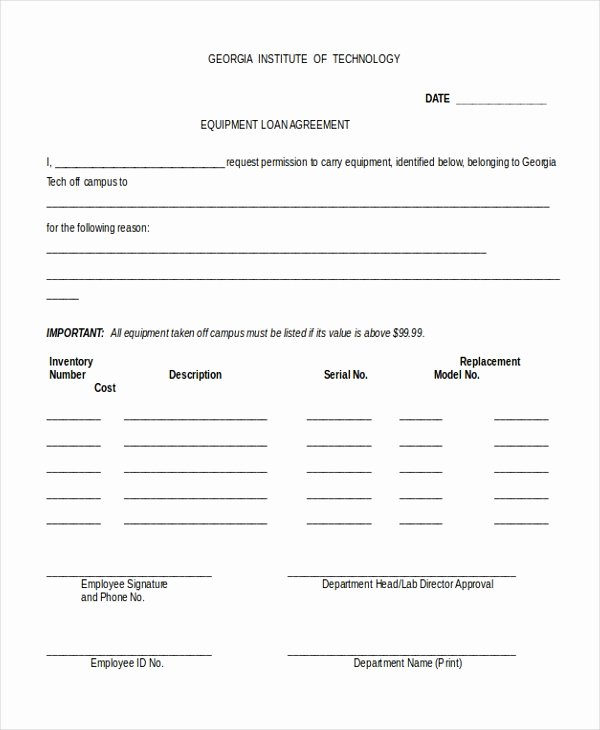 Equipment Loan Agreement Template Awesome 9 Sample Loan Agreement form Sample Example format
