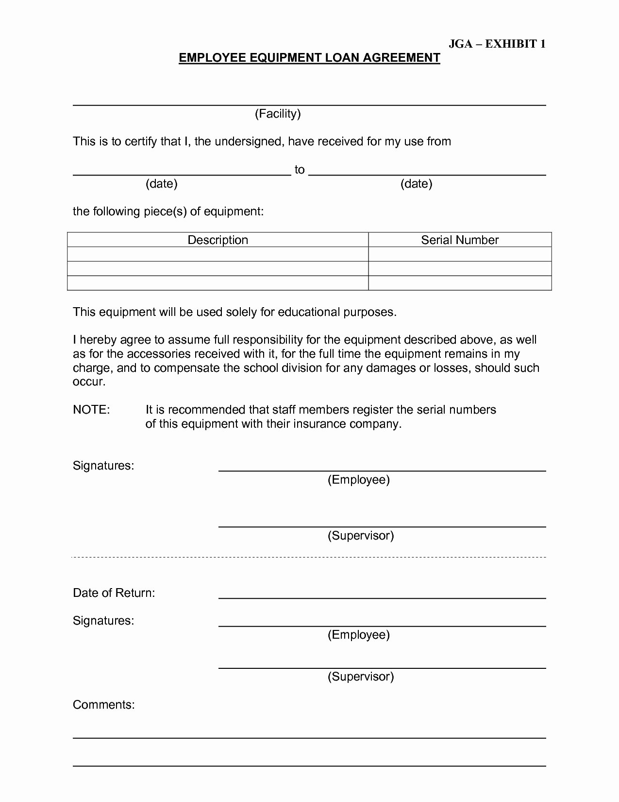Equipment Loan Agreement Template Awesome Equipment Loan Agreement Template Free Plete Best S