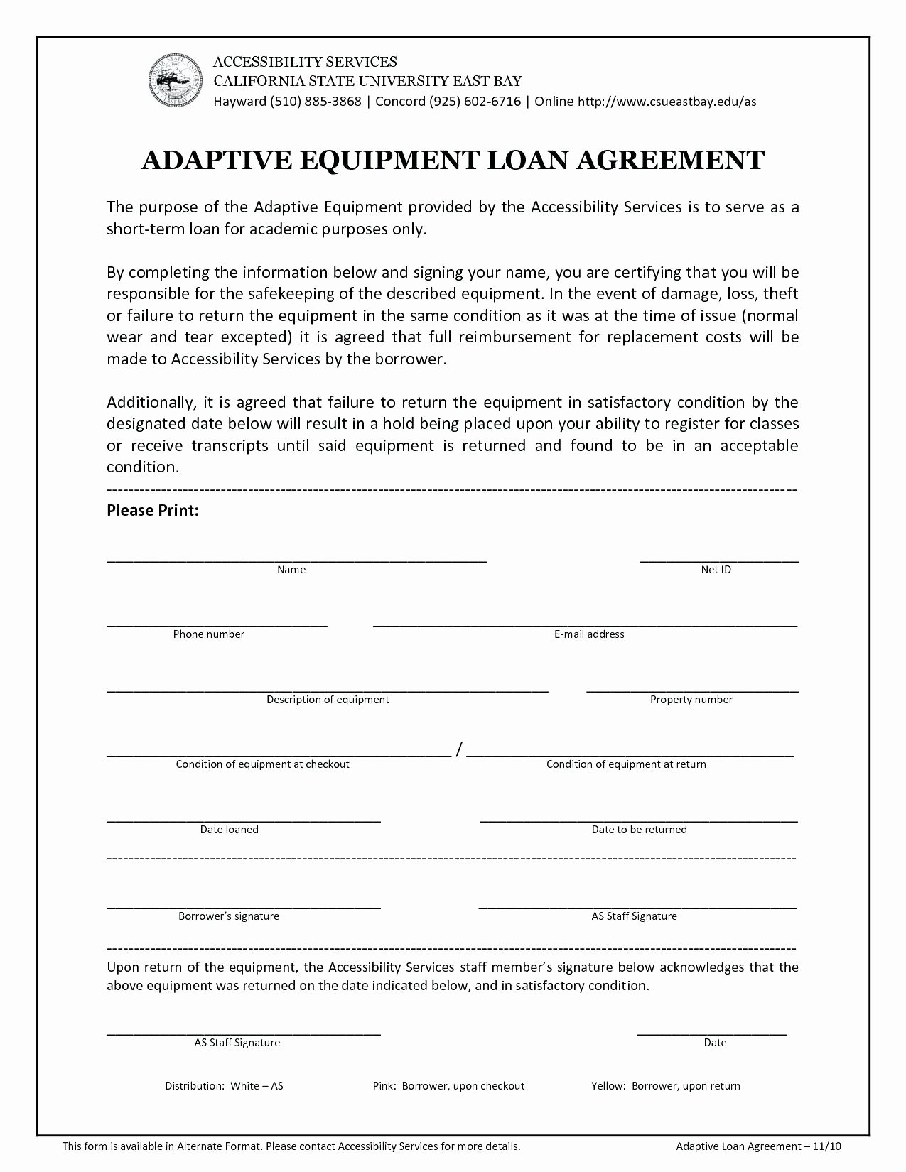 Equipment Loan Agreement Template Awesome Template Rental Equipment Agreement Template