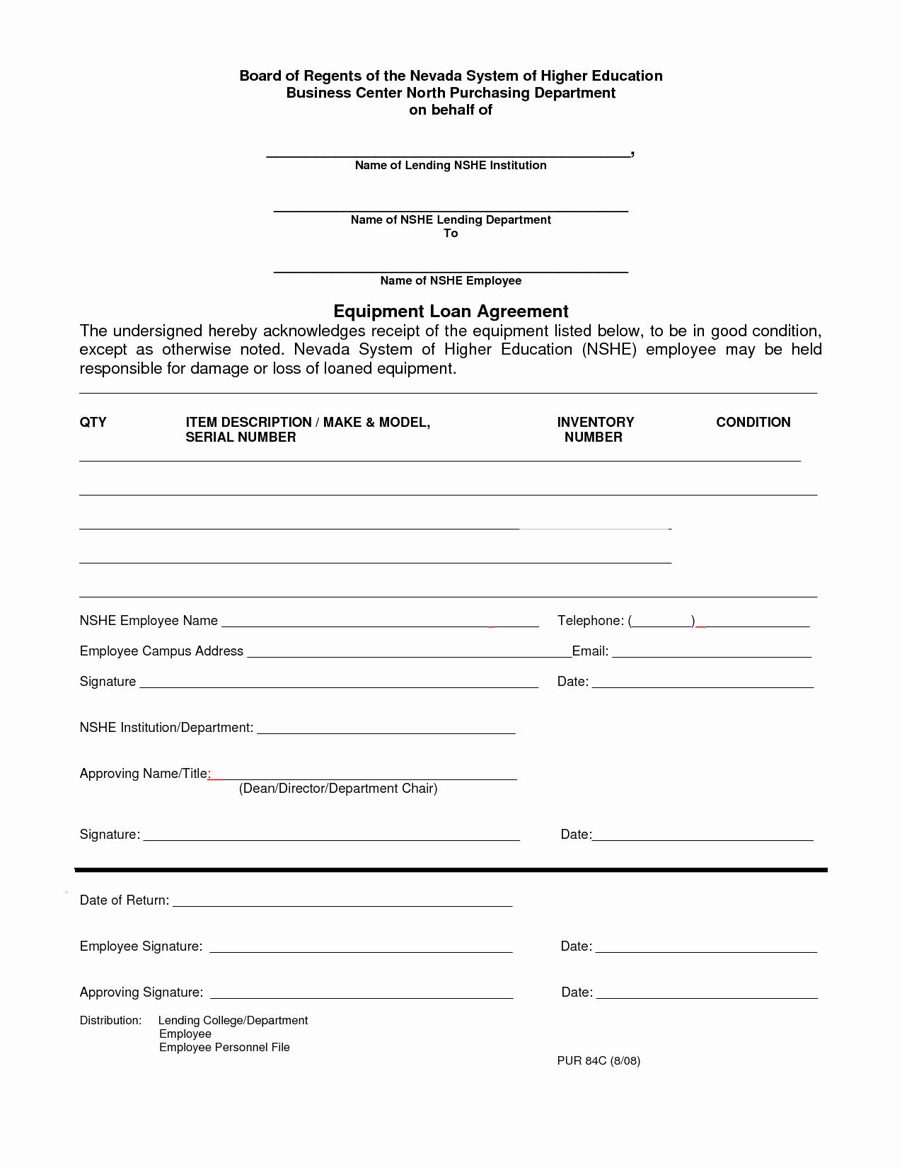 Equipment Loan Agreement Template Beautiful 10 Best Of Employee Loan Agreement Employee Loan