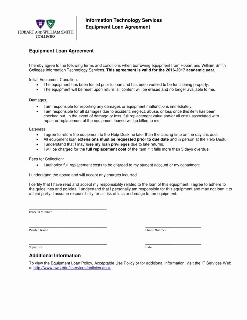 Equipment Loan Agreement Template Beautiful 6 Equipment Loan Agreement Templates Pdf