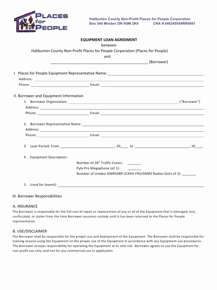 Equipment Loan Agreement Template Best Of form Equipment Loan form