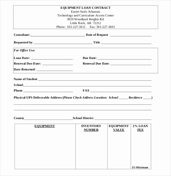 Equipment Loan Agreement Template Inspirational 28 Loan Contract Templates – Pages Word Docs