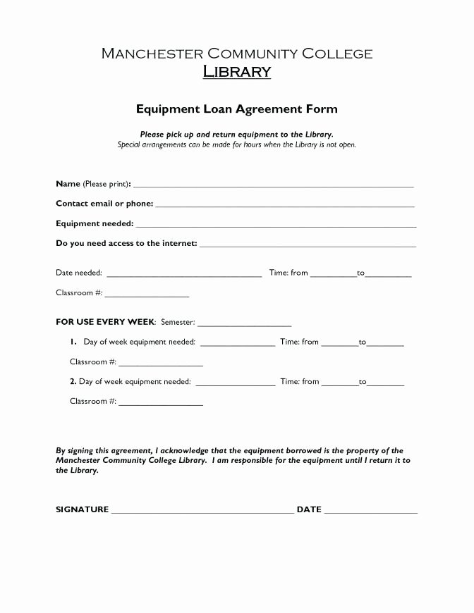 Equipment Loan Agreement Template Inspirational Equipment Loan form Template