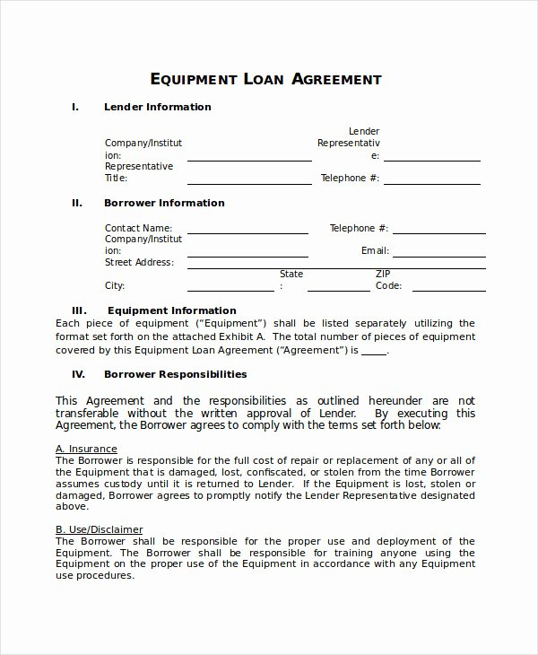 Equipment Loan Agreement Template Inspirational Loan Agreement Template 17 Free Word Pdf Document