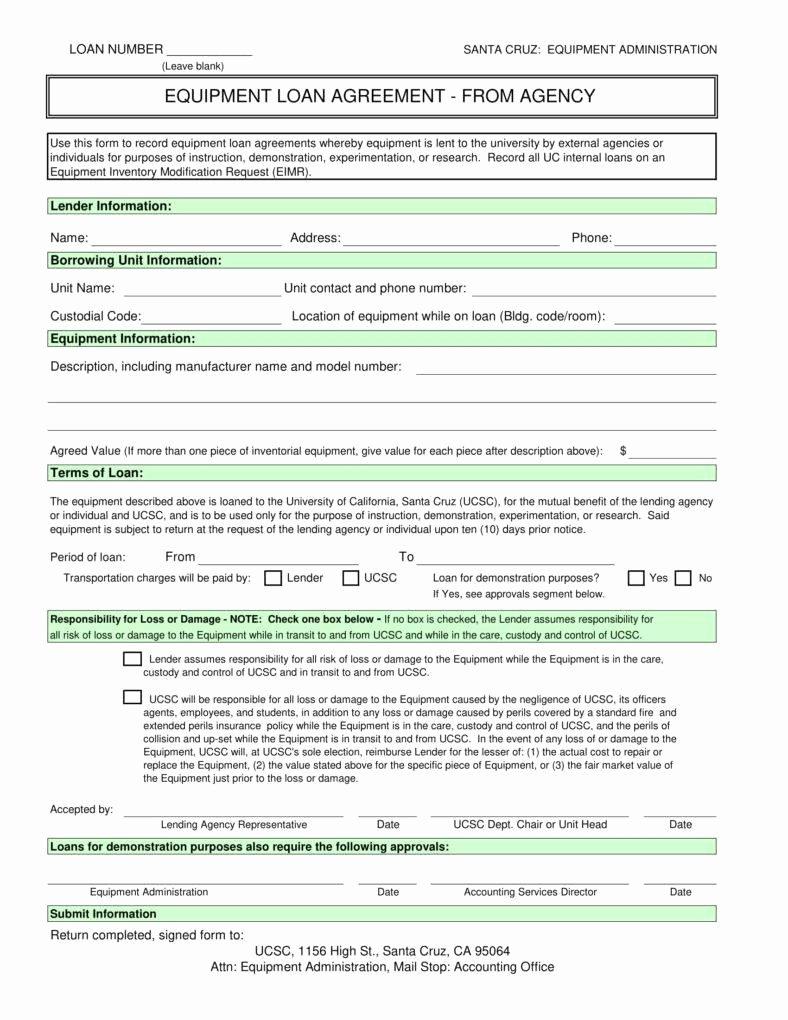 Equipment Loan Agreement Template Luxury 6 Equipment Loan Agreement Templates Pdf