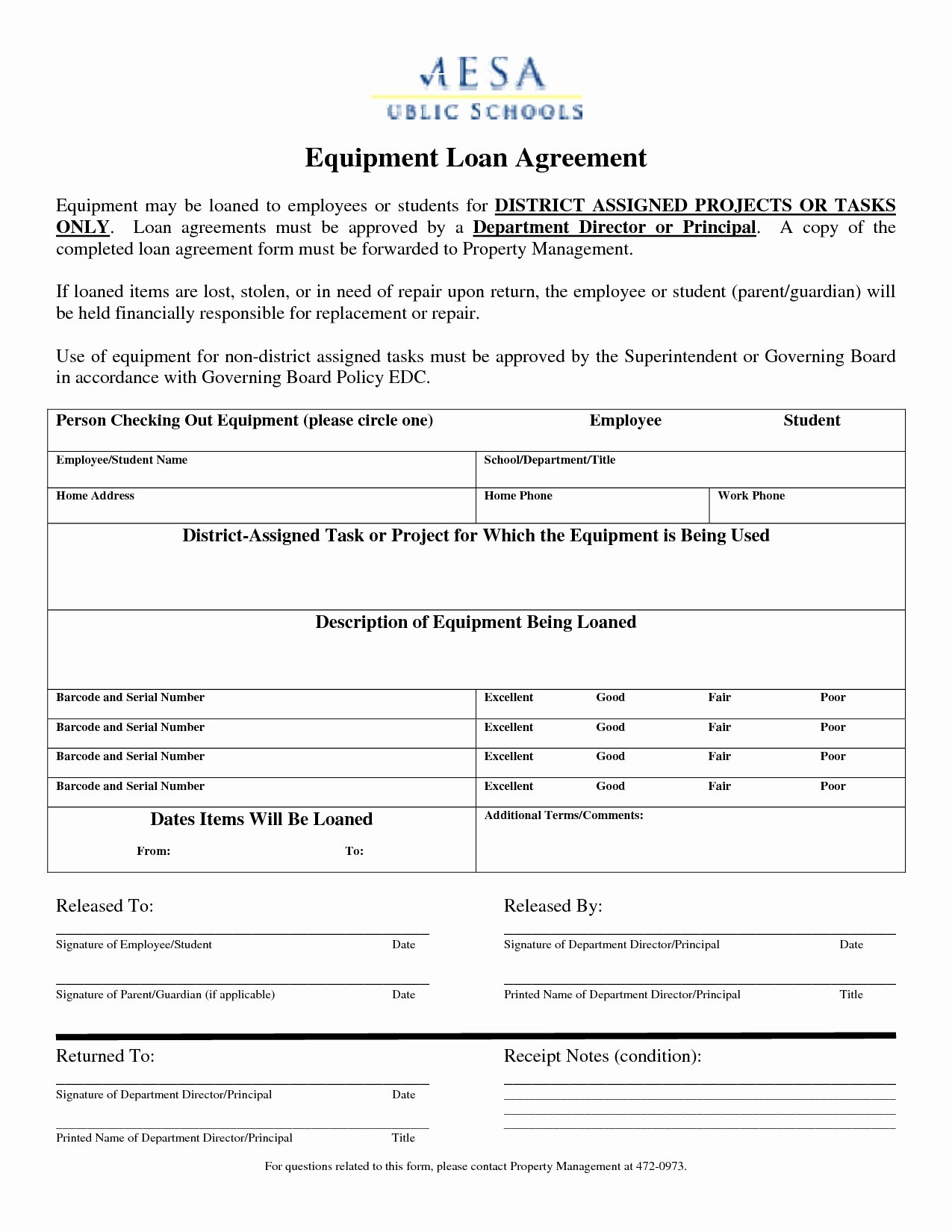Equipment Loan Agreement Template Luxury Best S Employee Equipment Agreement form Employee