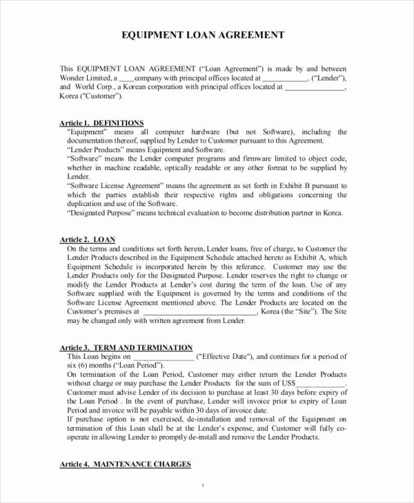 Equipment Loan Agreement Template New 10 Loan Contract Samples & Templates