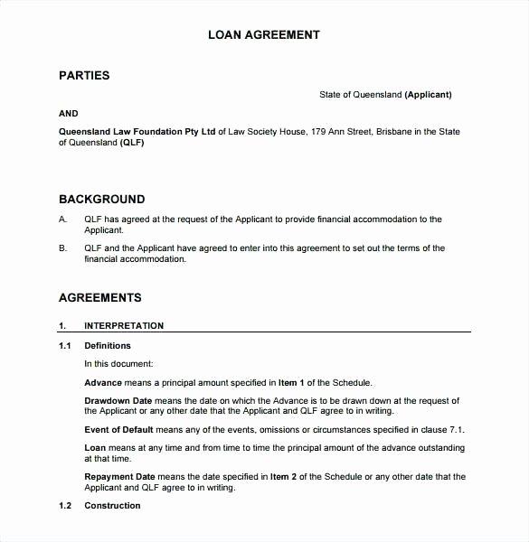 Equipment Loan Agreement Template New Equipment Loan Agreement Template Word Free form