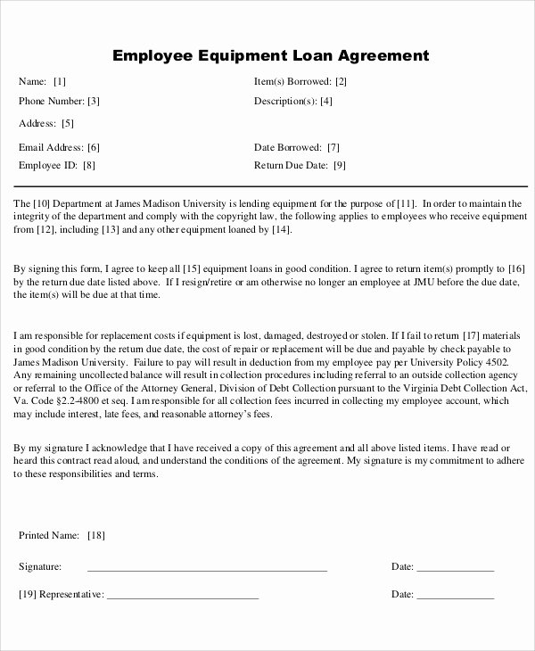 Equipment Loan Agreement Template Unique 25 Loan Agreement Templates