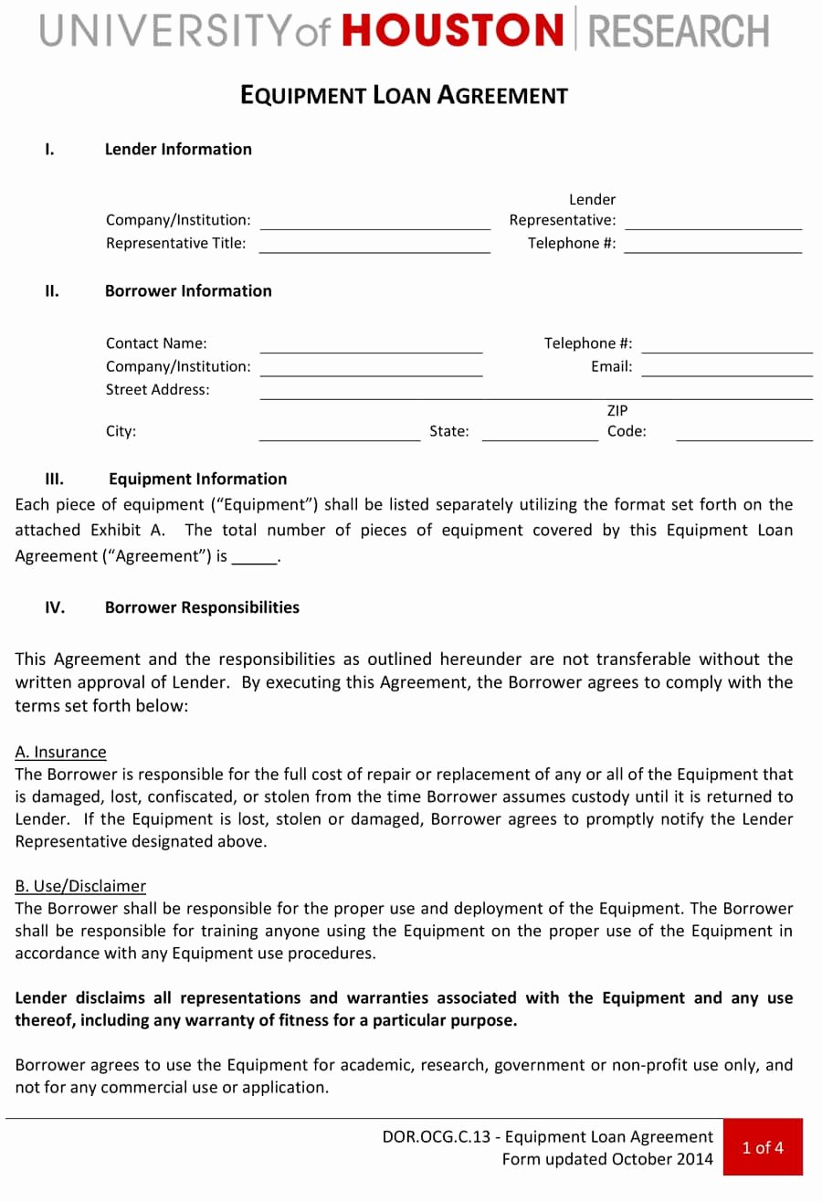 Equipment Loan Agreement Template Unique 40 Free Loan Agreement Templates [word & Pdf] Template Lab