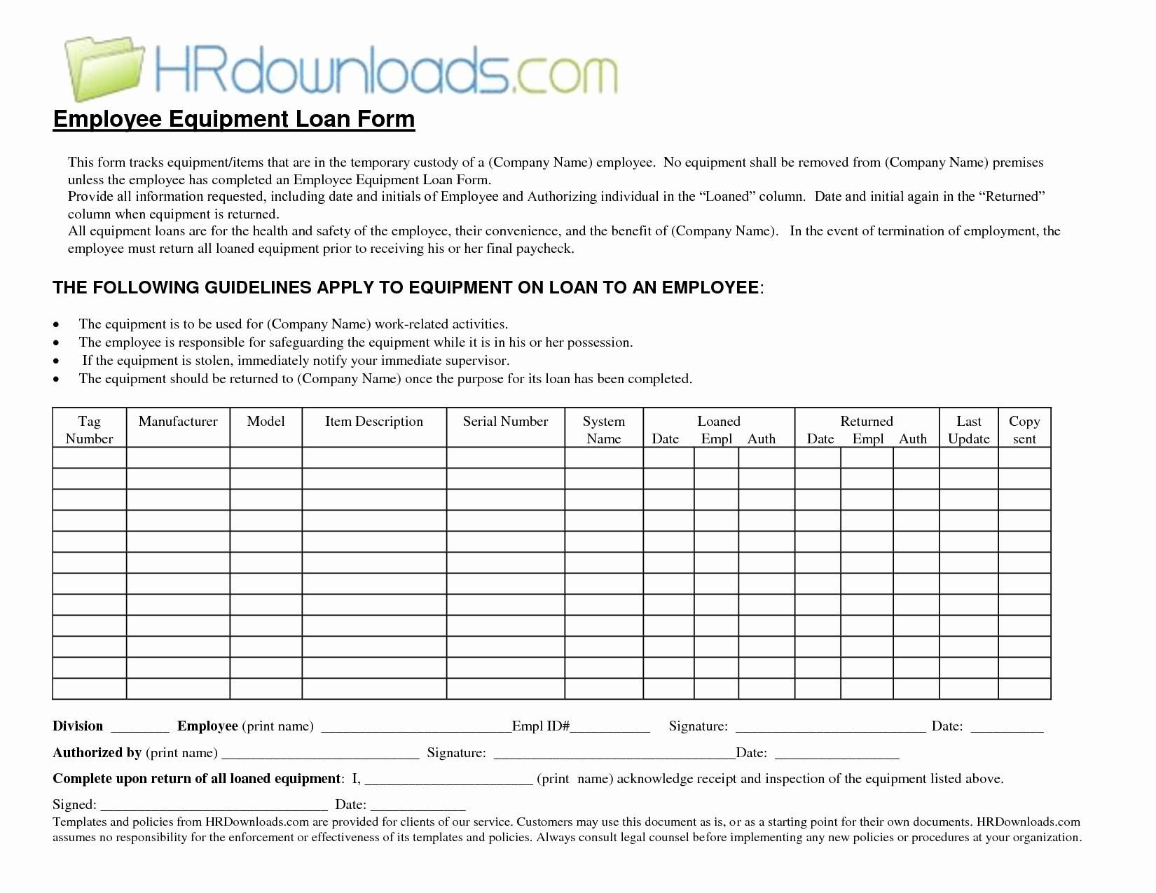 Equipment Loan Agreement Template Unique form Equipment Loan form