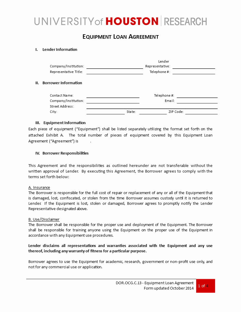 Equipment Loan Agreement Template Unique Free Loan Equipment Agreement