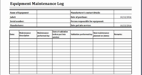 Equipment Maintenance Log Template Best Of Equipment Maintenance Log Template at