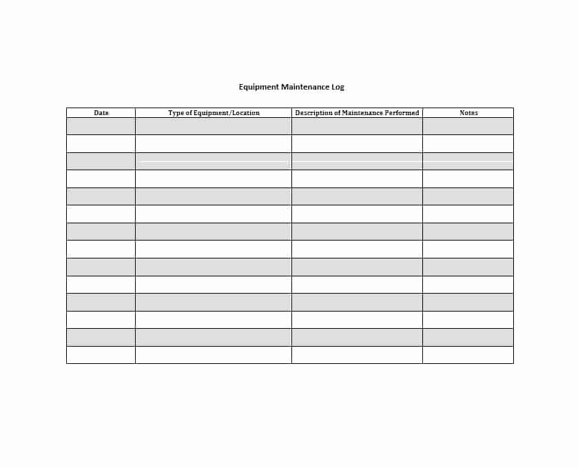 Equipment Maintenance Log Template Elegant 40 Equipment Maintenance Log Templates Template Archive