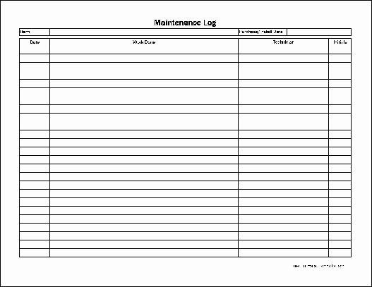 Equipment Maintenance Log Template Excel Awesome Free Easy Copy Basic Maintenance Log Wide From formville