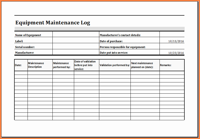 Equipment Maintenance Log Template Excel Beautiful 3 Maintenance Tracking Spreadsheet
