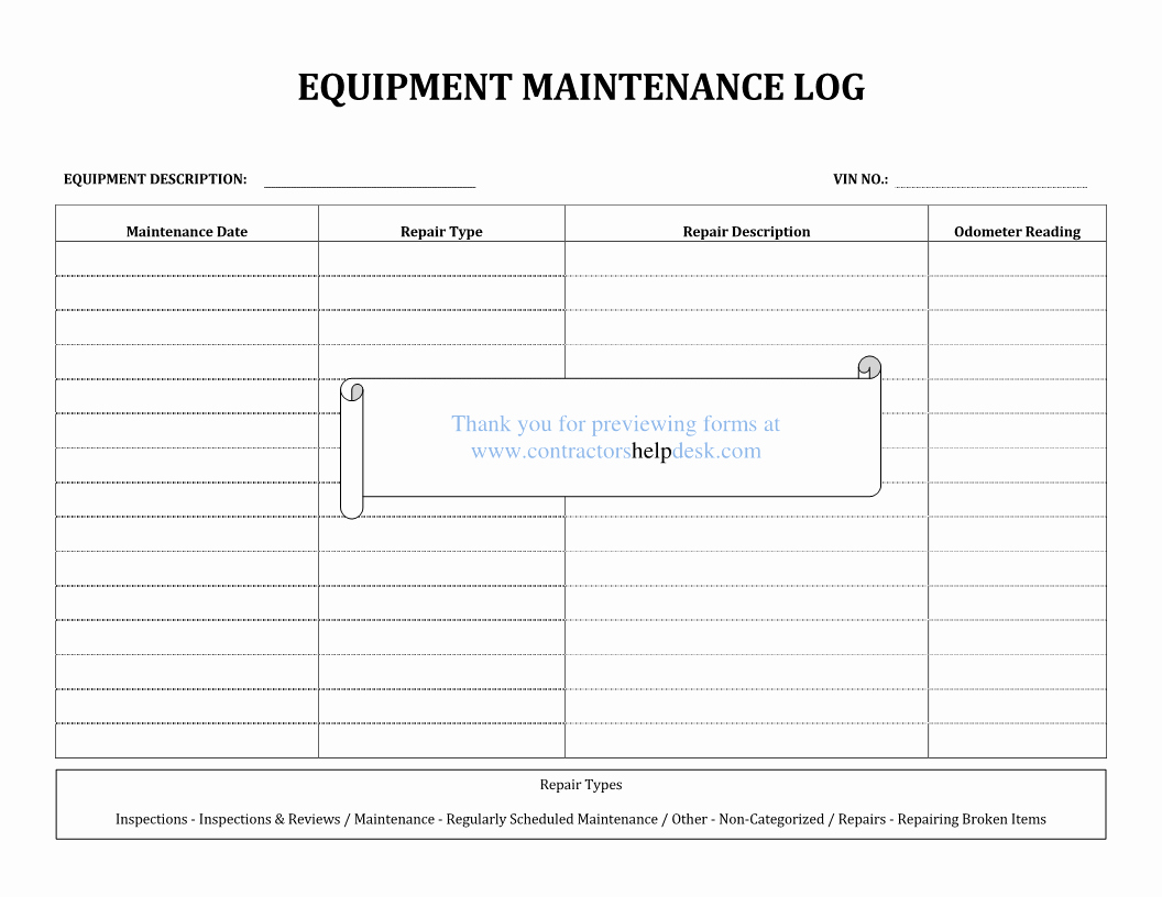 Equipment Maintenance Log Template Excel Elegant Contractors Help Desk forms