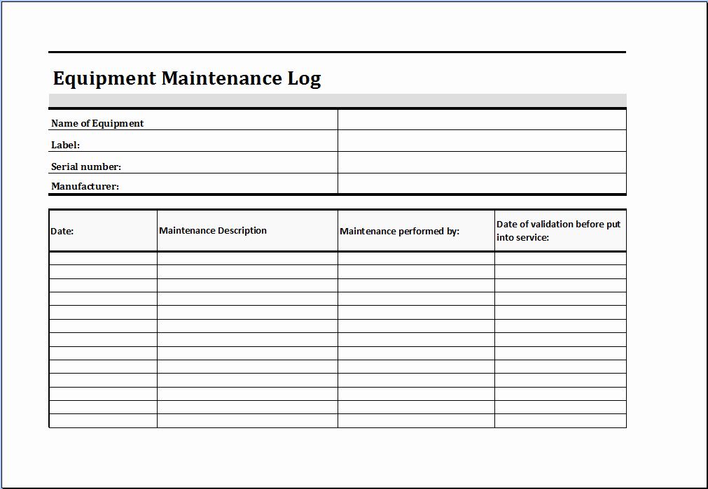 Equipment Maintenance Log Template Excel Inspirational Maintenance