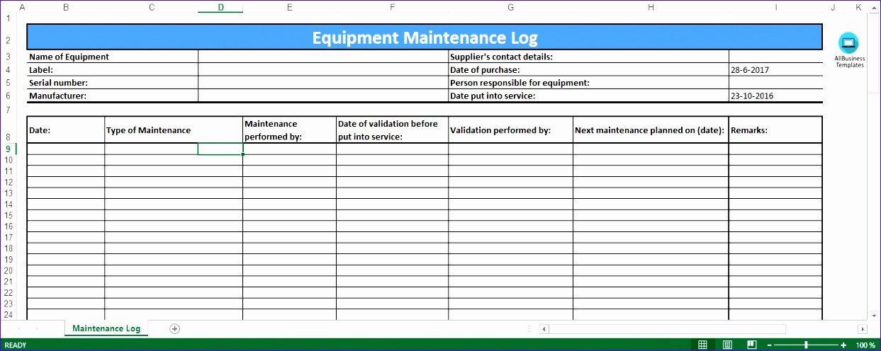 Equipment Maintenance Log Template Excel Lovely 6 Preventive Maintenance Template Excel Exceltemplates