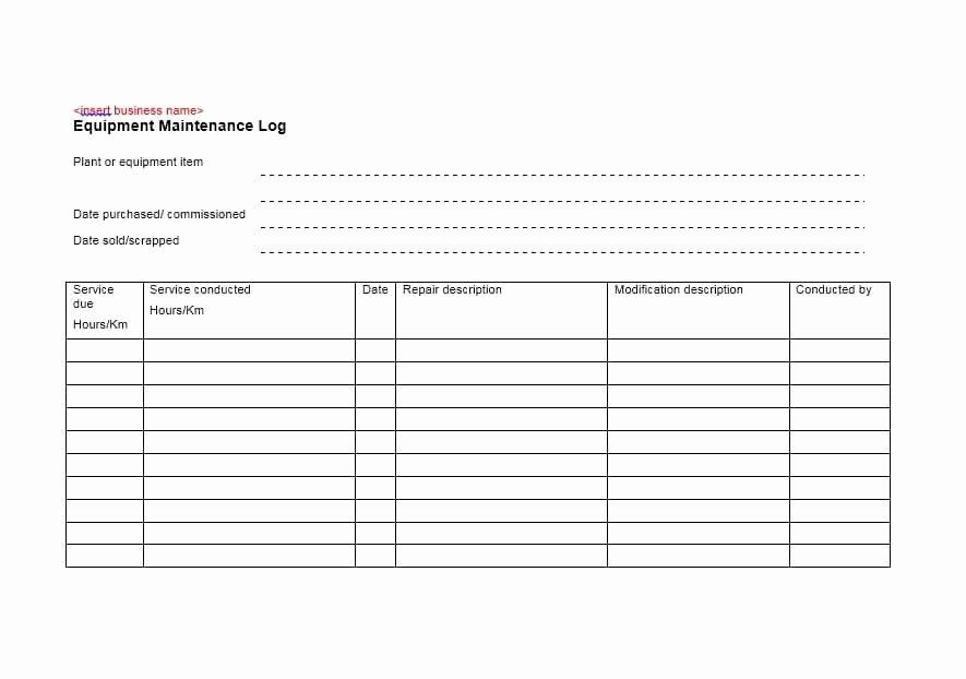 Equipment Maintenance Log Template Inspirational 40 Equipment Maintenance Log Templates Template Archive