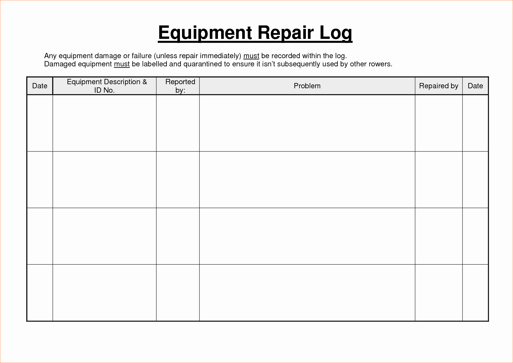 Equipment Maintenance Log Template Inspirational Heavy Equipment Maintenance Log