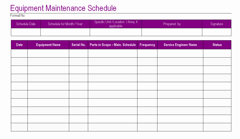 Equipment Maintenance Log Template New Equipment Maintenance Schedule Template Excel