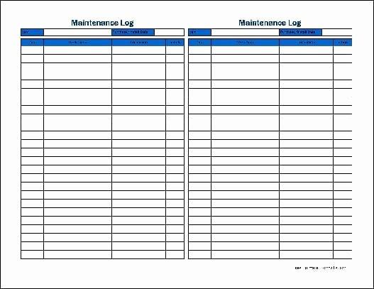 Equipment Maintenance Log Template Unique 5 Equipment Maintenance Log Templates – Word Templates