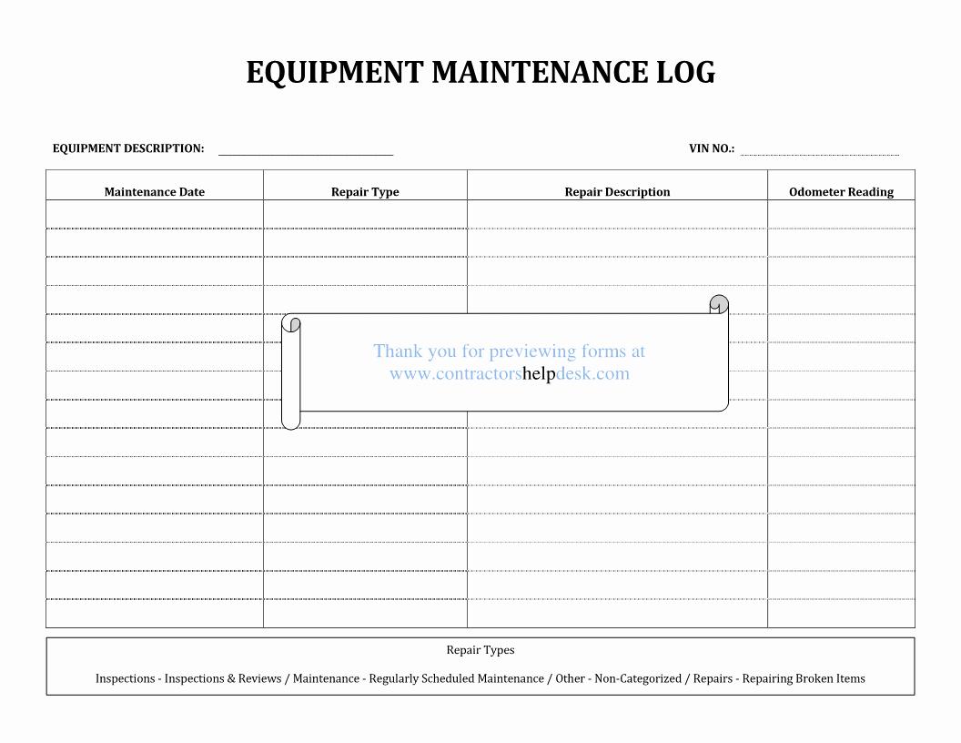 Equipment Maintenance Log Template Unique Contractors Help Desk forms