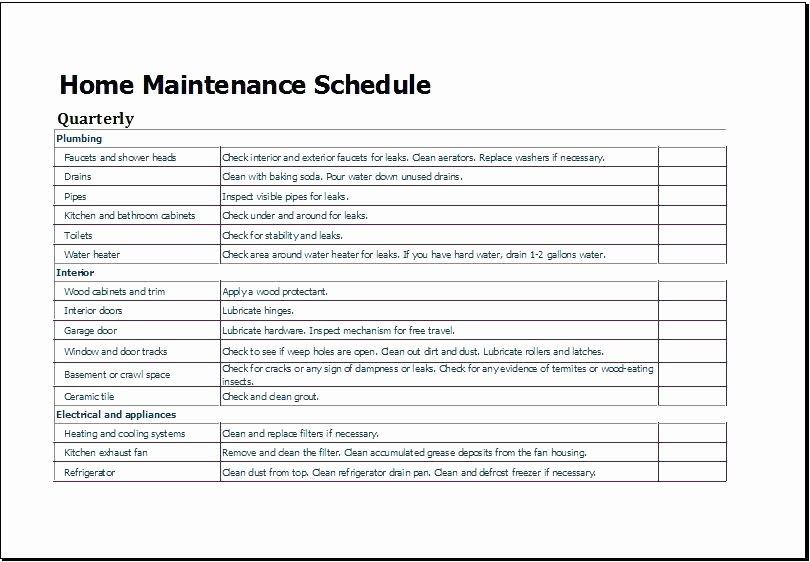 Equipment Maintenance Schedule Template Excel Beautiful Building Maintenance Plan Template Free Download Schedule
