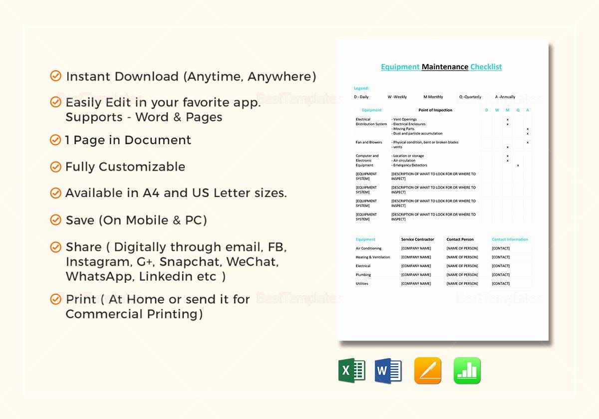 Equipment Maintenance Schedule Template Excel Beautiful Equipment Maintenance Checklist Template In Word Excel