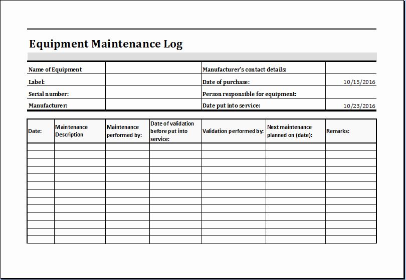 Equipment Maintenance Schedule Template Excel Elegant Equipment Maintenance Log Template Ms Excel