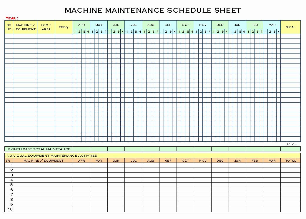Equipment Maintenance Schedule Template Excel Elegant Equipment Maintenance Schedule Template Excel