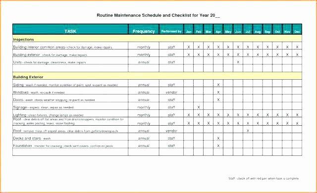 Equipment Maintenance Schedule Template Excel Fresh Preventive Maintenance Template Excel if You Desire to