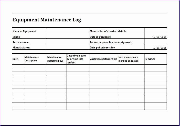 Equipment Maintenance Schedule Template Excel Lovely 11 Equipment Maintenance Log Exceltemplates Exceltemplates