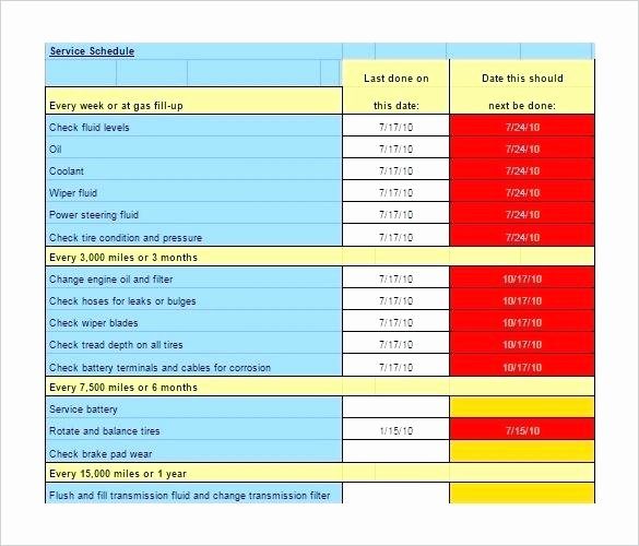 Equipment Maintenance Schedule Template Excel Luxury Preventive Maintenance Heavy Equipment Schedule Template