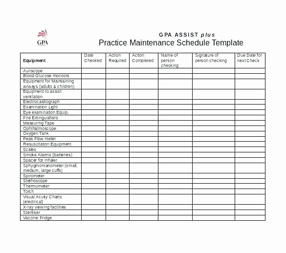 Equipment Preventive Maintenance Checklist Template Awesome Vehicle Maintenance Checklist Template Free Templates