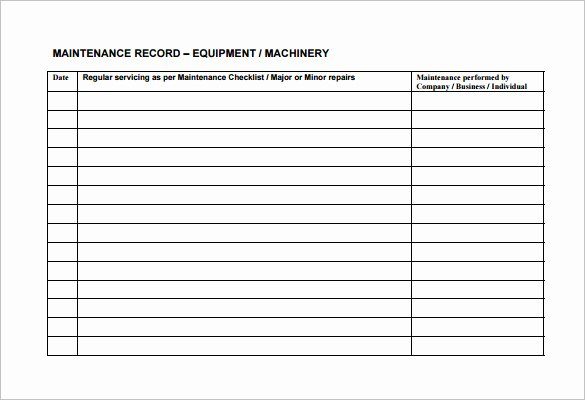 Equipment Preventive Maintenance Checklist Template Unique Equipment Maintenance Schedule Template Excel