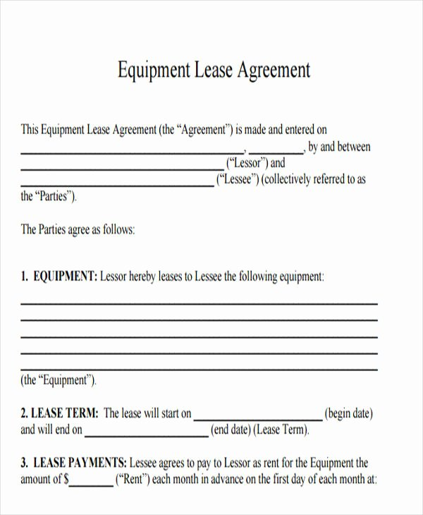 Equipment Rental Agreement Template Awesome 19 Printable Lease Agreement Templates Word Pdf Pages